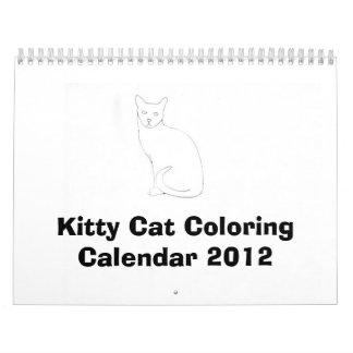 Calendario 2012 del colorante del gato del gatito