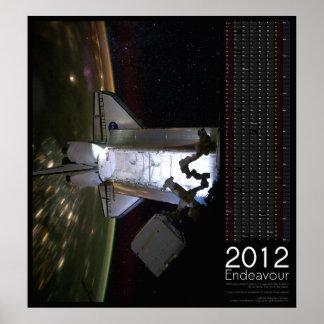 Calendario 2012 del esfuerzo del transbordador esp impresiones