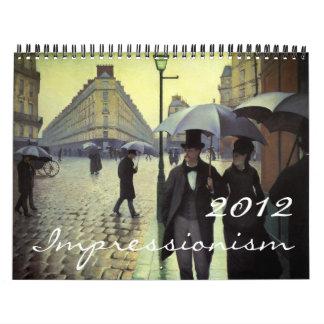 Calendario 2012 del impresionismo de la bella arte