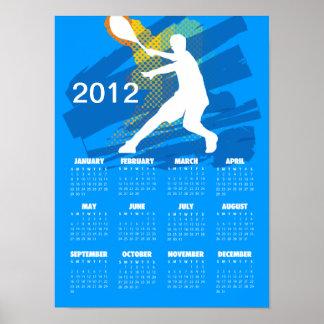 Calendario 2012 del tenis - impresión del poster