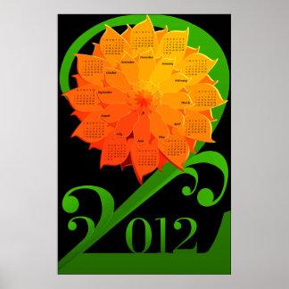 Calendario 2012 - Flor (inglés, domingo primero) Póster