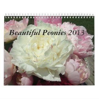 Calendario 2013 de la flor de los Peonies