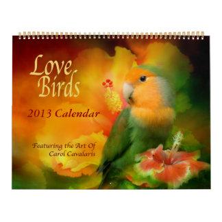 Calendario 2013 del arte de los pájaros del amor