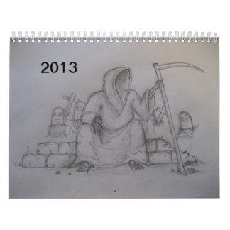 Calendario 2013 del dibujo de lápiz de la muerte d
