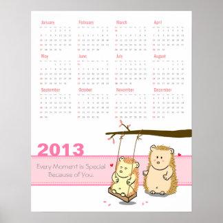 Calendario 2013: Pares lindos del erizo en el osci Póster