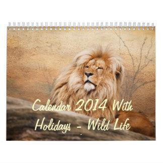 Calendario 2014 con días de fiesta - vida salvaje