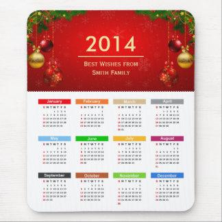 Calendario 2014 con el texto del personalizado de  tapetes de ratones