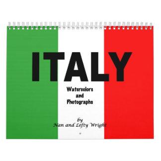 Calendario 2014 de Italia de fotos y de acuarelas
