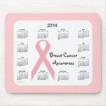 Calendario 2014 de la conciencia del cáncer de pec alfombrilla de ratones
