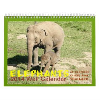 Calendario 2014 de la foto de los elefantes del pa