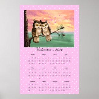 Calendario 2014 de los búhos del amor impresiones