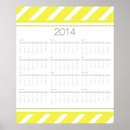Calendario 2014 de pared de Chevron Posters