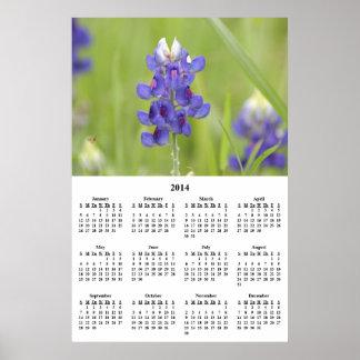 Calendario 2014 de pared de los Bluebonnets de Tej Impresiones
