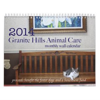 Calendario 2014 de pared del cuidado animal de las