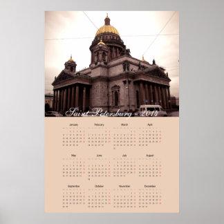 calendario 2014 de St Petersburg Rusia Póster