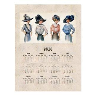 Calendario 2014 del bolsillo de la moda de postal