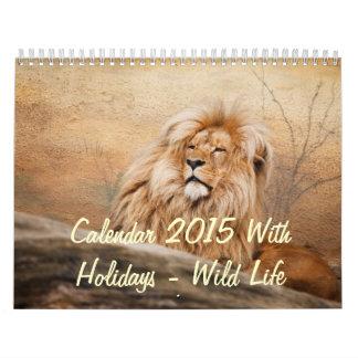 Calendario 2015 con días de fiesta - vida salvaje
