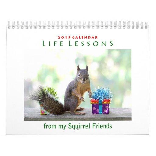 Calendario 2015 de la ardilla de las lecciones de