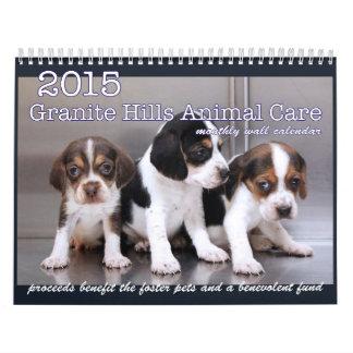 Calendario 2015 del cuidado animal de las colinas