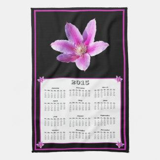 Calendario 2015 del paño del Clematis Toallas