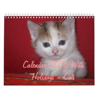Calendario 2016 con los días de fiesta - gatos