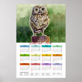Calendario 2016 de la acuarela del pequeño búho póster