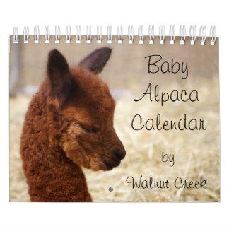 Calendario 2016 de la alpaca del bebé