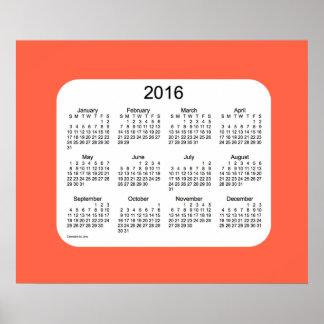 Calendario 2016 de pared rojo del tomate por la póster