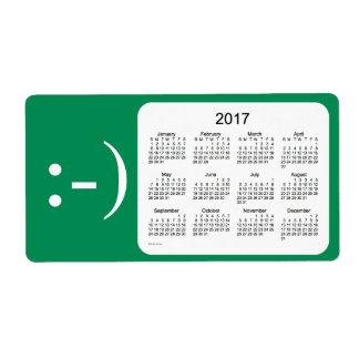 Calendario 2017 del verde de mar por la etiqueta etiquetas de envío
