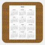 Calendario a cuadros anaranjado y negro del diseño pegatinas cuadradases