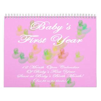 Calendario abierto del primer año del bebé