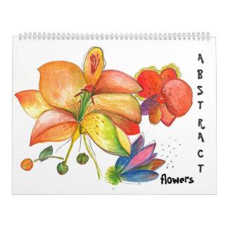 Calendario abstracto de las flores y de las orquíd
