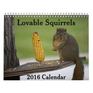 Calendario adorable de las ardillas 2016