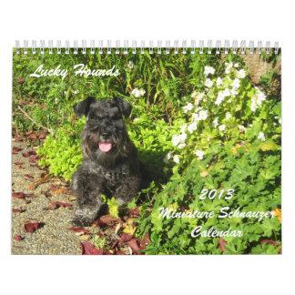 Calendario afortunado 2013 del Schnauzer miniatura