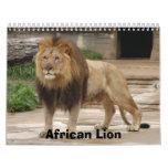 Calendario africano de los leones, león africano
