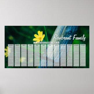 Calendario amarillo del cumpleaños de la familia póster