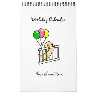 Calendario amarillo del cumpleaños del dibujo anim