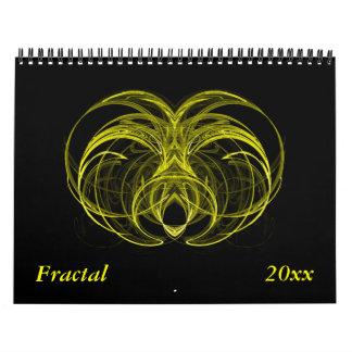 Calendario amarillo del fractal - fechas del