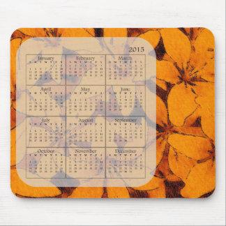 Calendario anaranjado de Mousepad 2015 de los