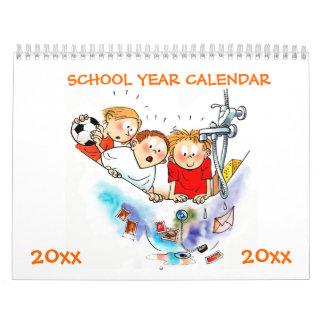Calendario anaranjado del año escolar para los