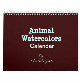 Calendario animal de la acuarela