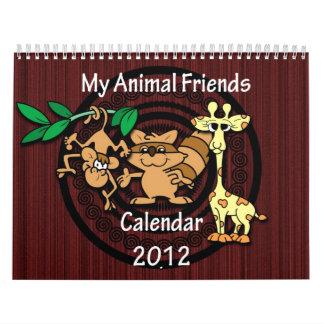 Calendario animal de los amigos 2012 del dibujo