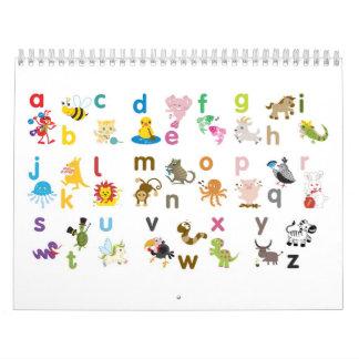 Calendario animal del alfabeto