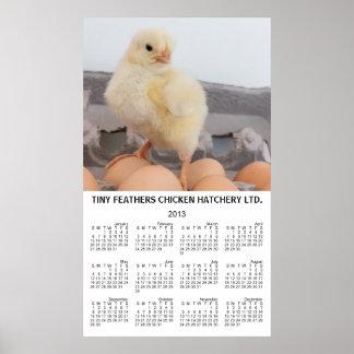 Calendario anual 2013 de la pared amarilla del póster