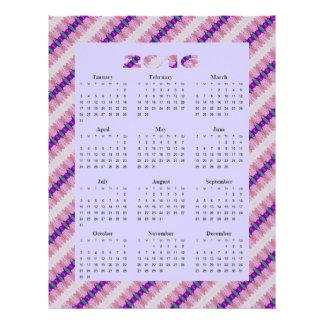"Calendario anual de las cintas 2016 rosados folleto 8.5"" x 11"""