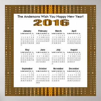 Calendario anual del modelo 2016 del resplandor de póster