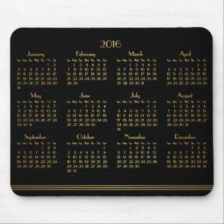 Calendario anual del oro negro del art déco tapete de raton