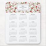 Calendario anual floral festivo Mousepad