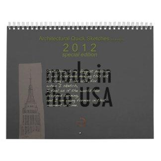 Calendario arquitectónico 2012 de los bosquejos