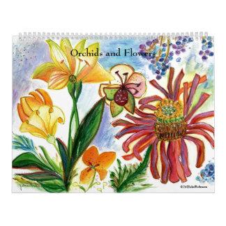 Calendario asombroso de la orquídea y de la flor